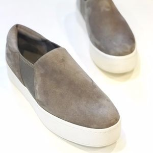 Vince Suede Leather Taupe Slip On Sneakers
